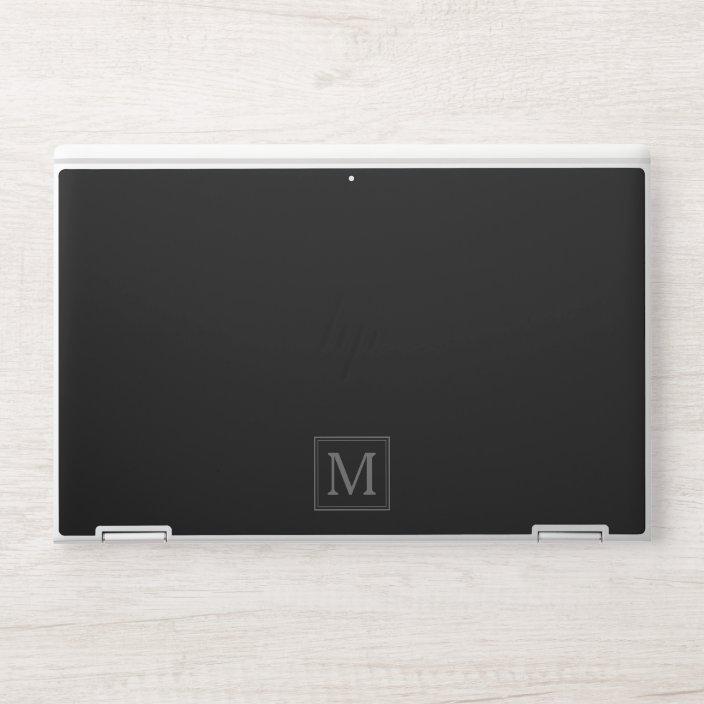 Monogram Initial Modern Black Hp Laptop Skin Zazzle Com