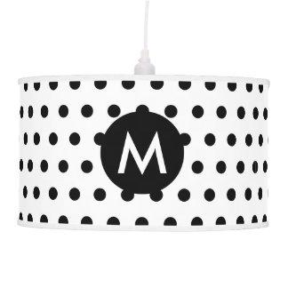 Monogram Initial Modern Black & White Polka Dots Pendant Lamp