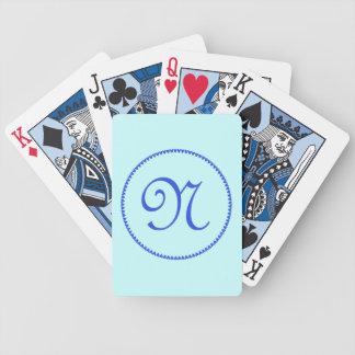 Monogram initial N blue hearts elegant stylish Bicycle Playing Cards