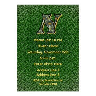 Monogram Initial N Daisies Green Floral Invite
