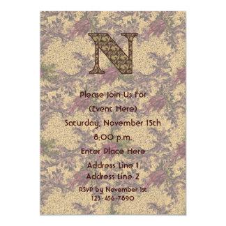 Monogram Initial N Elegant Floral Invite