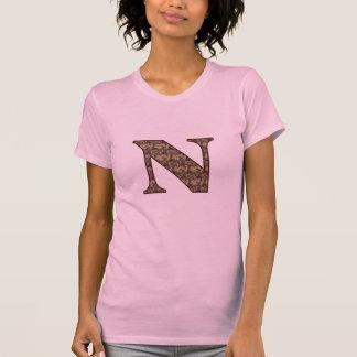 Monogram Initial N Elegant Floral T Shirt