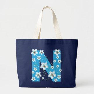 Monogram initial N floral flowery pretty tote bag