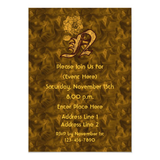 Monogram Initial N Gold Peony Elegant Invite