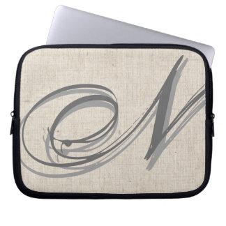 Monogram Initial N Linen-Look Laptop Sleeve