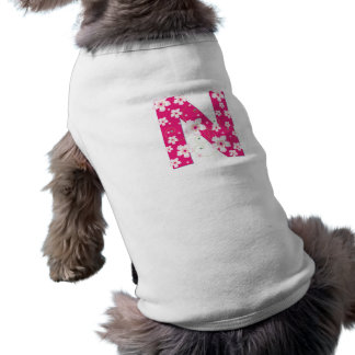 Monogram initial N pretty pink floral dog clothing