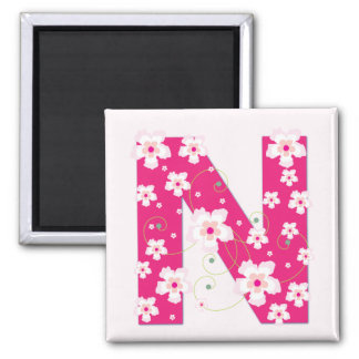 Monogram initial N pretty pink floral magnet