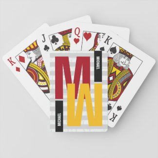 monogram ( initial & name) color playing cards