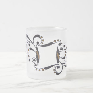 monogram initial name frosted glass coffee mug