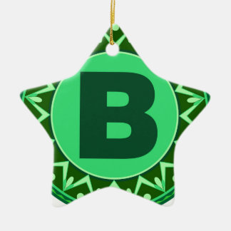 Monogram Initial name green letter alphabet b Ceramic Ornament