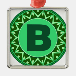 Monogram Initial name green letter alphabet b Metal Ornament