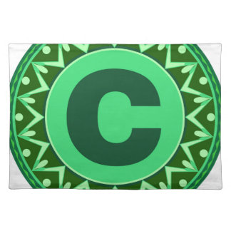 Monogram Initial name green letter alphabet c Cloth Place Mat