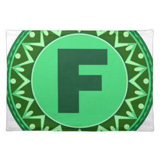 Monogram Initial name green letter alphabet f Cloth Placemat