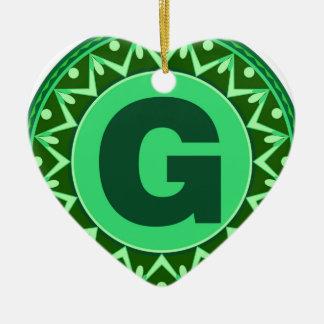 Monogram Initial name green letter alphabet g Ceramic Ornament