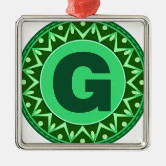 Monogram Initial name green letter alphabet g Metal Ornament