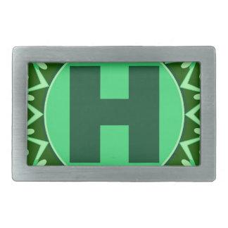 Monogram Initial name green letter alphabet h Belt Buckle