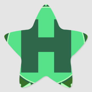 Monogram Initial name green letter alphabet h Star Sticker