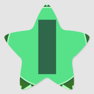 Monogram Initial name green letter alphabet i Star Stickers
