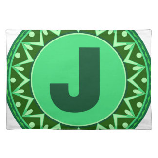 Monogram Initial name green letter alphabet j Cloth Place Mat