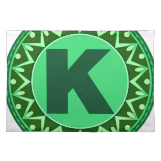 Monogram Initial name green letter alphabet k Cloth Place Mat