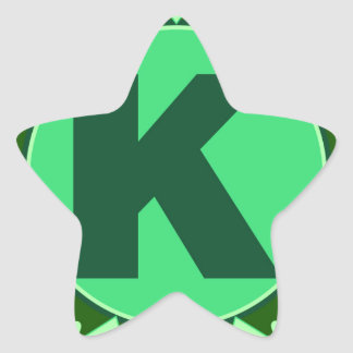 Monogram Initial name green letter alphabet k Star Sticker