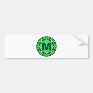 Monogram Initial name green letter alphabet m Bumper Sticker
