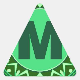 Monogram Initial name green letter alphabet m Triangle Sticker