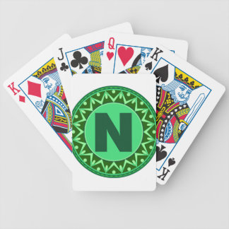 Monogram Initial name green letter alphabet n Bicycle Playing Cards