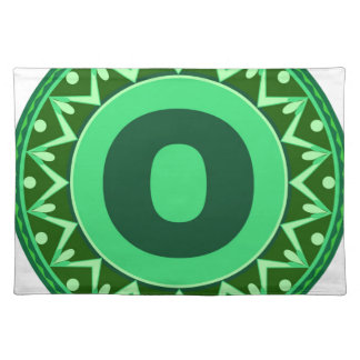 Monogram Initial name green letter alphabet o Cloth Place Mat