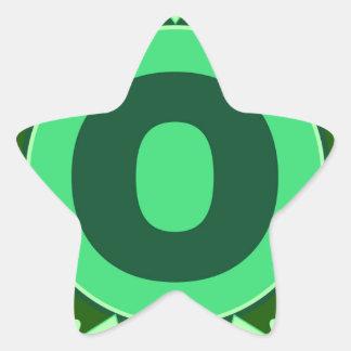 Monogram Initial name green letter alphabet o Star Stickers