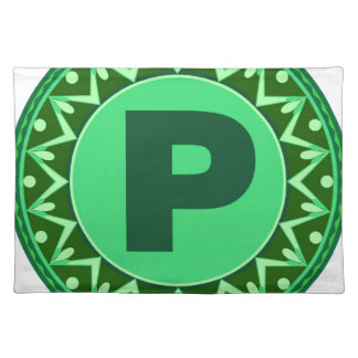 Monogram Initial name green letter alphabet p Cloth Placemat