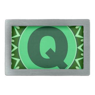 Monogram Initial name green letter alphabet q Rectangular Belt Buckle