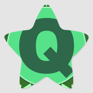 Monogram Initial name green letter alphabet q Star Stickers