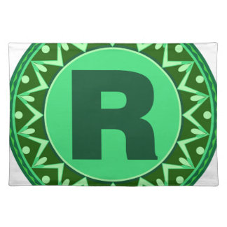 Monogram Initial name green letter alphabet r Cloth Placemat