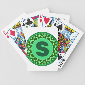 Monogram Initial name green letter alphabet s Bicycle Playing Cards