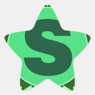 Monogram Initial name green letter alphabet s Star Sticker