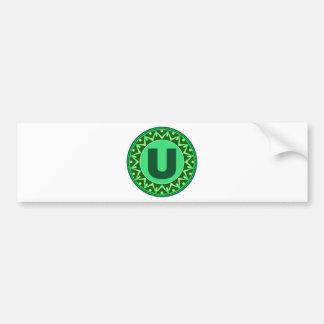 Monogram Initial name green letter alphabet u Bumper Sticker
