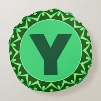 Monogram Initial name green letter alphabet y Round Pillow