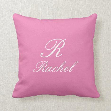 Monogram Initial Name Pink White Simple Elegant Throw Pillow