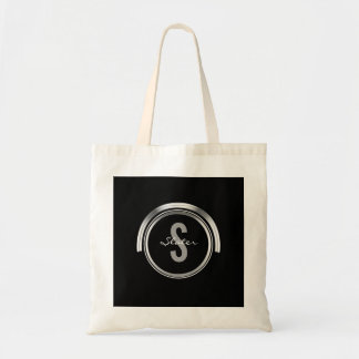 Monogram Initial Name | Simple Black Silver Tote Bag