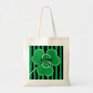 Monogram Initial Name | St. Patrick's Day Shamrock Tote Bag