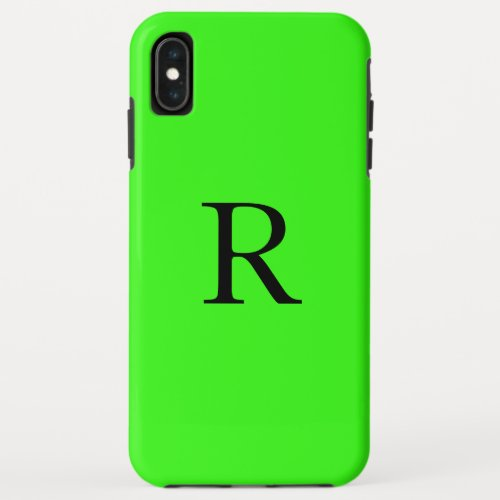 Monogram Initial Neon Green Solid Color Cool Phone Case