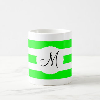 Monogram Initial Neon Green White Striped Pattern Coffee Mug
