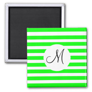 Monogram Initial Neon Green White Striped Pattern Magnet