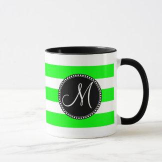 Monogram Initial Neon Green White Striped Pattern Mug