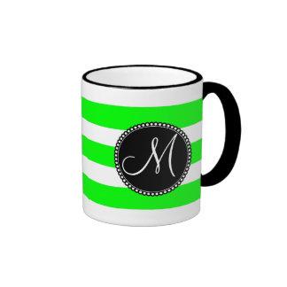 Monogram Initial Neon Green White Striped Pattern Ringer Mug