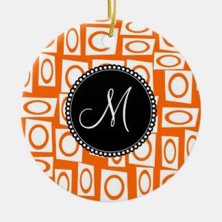 Monogram Initial Orange Fun Circle Square Pattern Ceramic Ornament