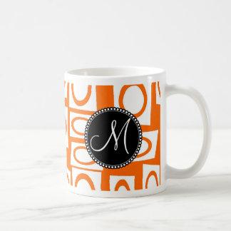 Monogram Initial Orange Fun Circle Square Pattern Coffee Mug