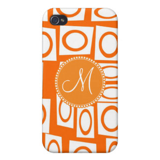 Monogram Initial Orange Fun Circle Square Pattern iPhone 4/4S Case