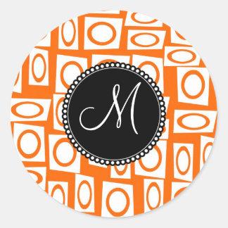 Monogram Initial Orange Fun Circle Square Pattern Round Sticker